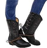 shoperama Esporas de estrella para disfraz de vaquero, salvaje oeste, Sheriff Marshall, jinete, botas, accesorios de disfraz
