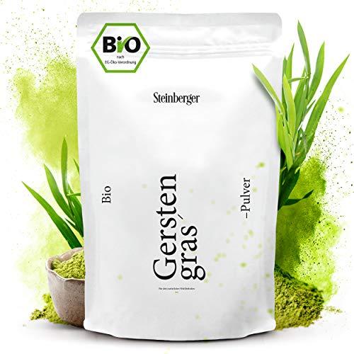 Premium Bio Gerstengraspulver von Steinberger | 100% naturrein und frisch | 500 g im wiederverschließbaren Standbeutel