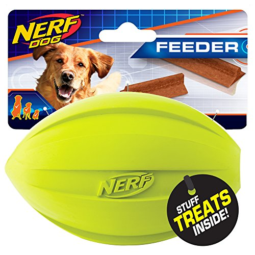 Nerf Dog Football Dog Toy with Interactive Treat Feeder, Lightweight, Durable and Water Resistant, 7 Inch Diameter for Medium/Large Breeds, Two Pack, Blue and Green