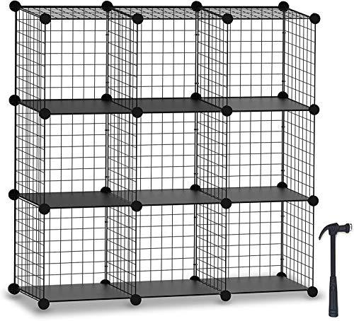 HOMIDEC Cube Steckregal, Lagerregale 9 Cube Bücherregal Schrank Organizer und Lagerung Draht Aufbewahrungswürfel Mehrzweck DIY Lagerung Würfel Regal für Bücher, Spielzeug, Kleidung