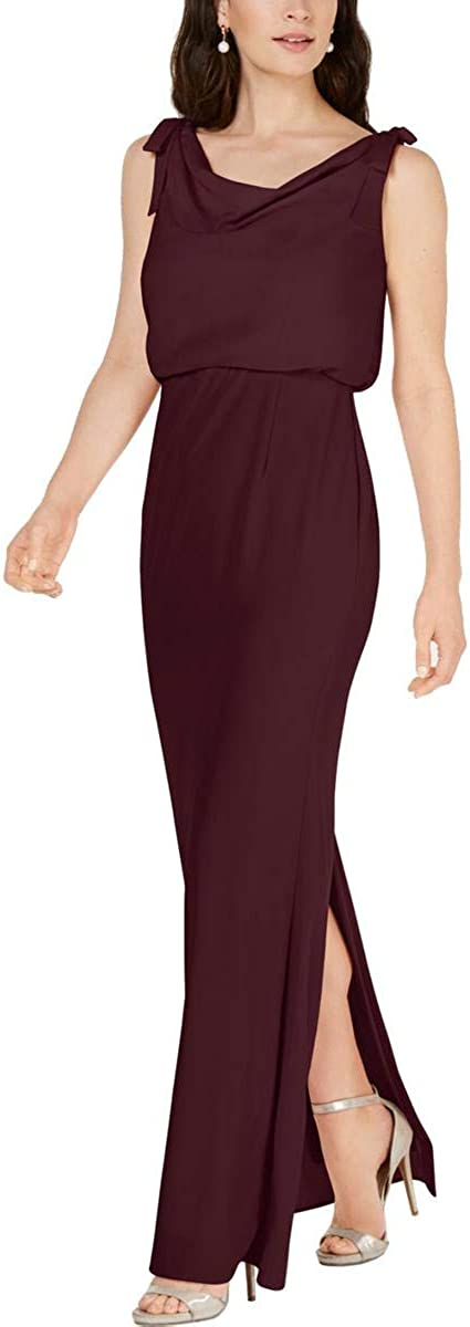 Adrianna Papell Womens Maroon Slitted Slitted Sleeveless Cowl Neck Full-Length Sheath Formal Dress Size 20
