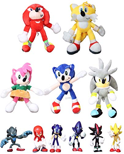 Figura Sonic y felpa 11 unids/lote Sonic Plush Toys Sonic Shadow Amy Rose Knuckles Colas Juguetes de peluche de peluche de peluche suave regalo para niños regalo