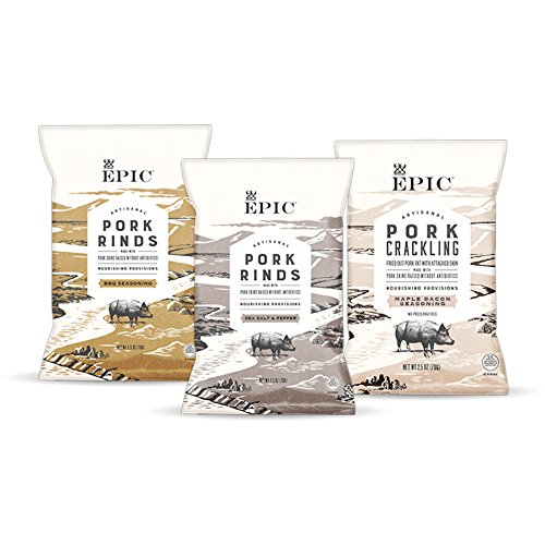 Epic Artisanal Pork Rinds Snack, Sea Salt and Pepper, BBQ Seasoning, Maple Bacon, 2.5 Ounce