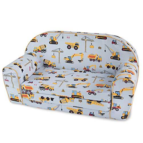 MuseHouse Kinderschlafsofa Kindersofa mit Bettfunktion Couch Kindermöbel Ausklapp Kindersessel, zum Schlafen und Spielen - 2 Sitzer (LittleBuilder)