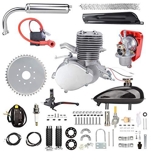 Yaheeda 100CC Bicycle Engine Kit, 2 Stroke Petrol Motorized Complete Bike Conversion Set, DIY Bicycle Gas Motor Full Kit for 26' and 28' Bikes (Silver)
