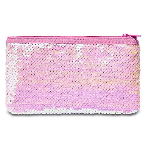 Cute Pencil Pen Case, RBEIK Glitter Reversible Sequin Pen Pencil Pouch for Kids Girls Students, Big Capacity Pencil Pen Bag Holder, Cosmetic Makeup Organizer Bag for Women (Pink-White)