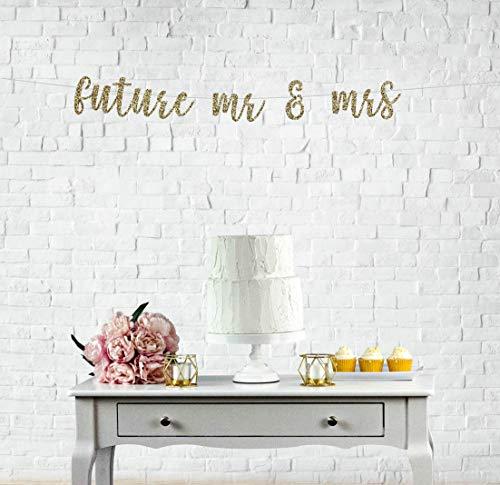 Banner de boda con purpurina para el futuro de Mr & Mrs. Banner de compromiso, para fiestas de compromiso, bandera de futuro de Sr. y Sra