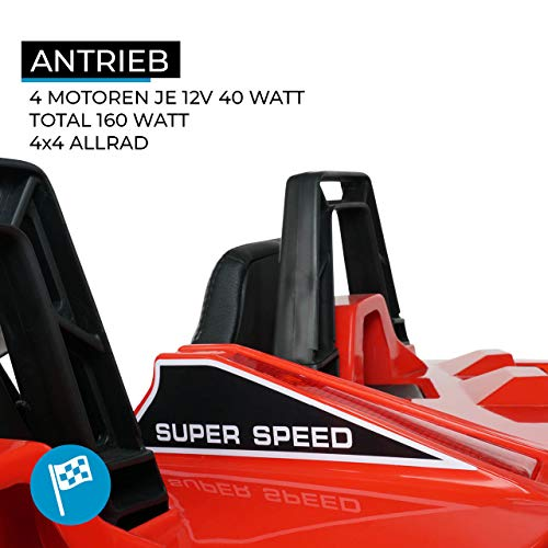 RC Auto kaufen Kinderauto Bild 2: Actionbikes Motors Kinder Elektroauto GT Super Speed JC888 – 4x40 Watt Motor – 2-Sitzer - Eva Reifen – Allrad – Kinderauto (Rot)*