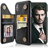LOHASIC for iPhone Xs Wallet Case Men, for iPhone X Phone Cover with 5 Card Holder Slot Women, PU Leather Stand Magnet Folio Portfolio Pocket, Compatible with iPhone Xs (2018)/X (2017) 5.8 Black