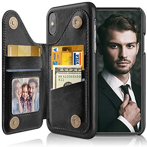 LOHASIC Schutzhülle für iPhone Xs, für iPhone X, 5 Kartenfächer, Kreditkartenfächer, PU-Leder, Standfunktion, magnetisch, Folio-Portfolio, klassisches Reise-Fototasche, 10XS 5,8 Zoll, Schwarz