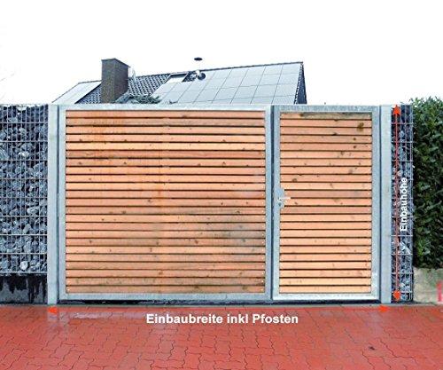 Einfahrtstor 450cm breit und 180cm hoch/Hochwertiges 2-flügeliges asymmetrisch geteiltes Tor/1,5m + 3,0m/Verzinkt mit Holzfüllung/Holz Tor Gartentor