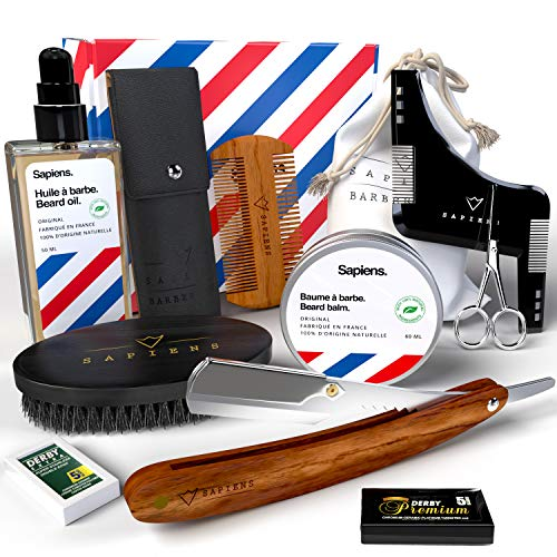 Kit soin barbe et rasage Sapiens Barbershop - Coffret barbe homme complet : Coupe choux, Huile barbe et Baume barbe Made in France, Lames Derby, Brosse barbe, Peigne barbe, Pochoir, Ciseaux, Pochette