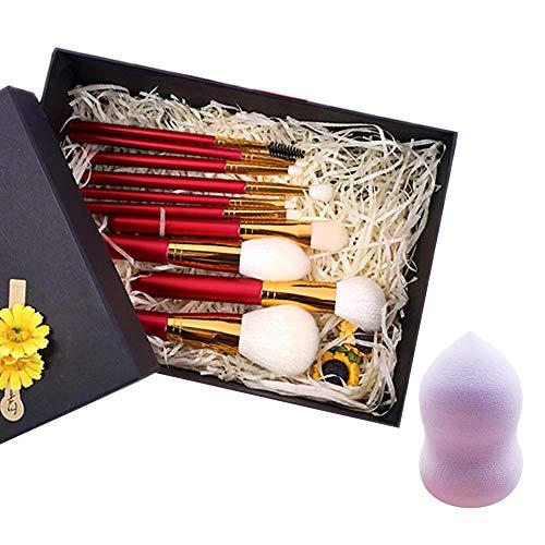 Pinceaux de maquillage, 10pcs Set de pinceaux de maquillage avec support Fondation pinceau yeux pinceaux de maquillage Pinceau à sourcils complet avec éponge à mélanger,GiftBox