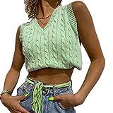 Women Teenage Girls Sweater Vest V-Neck Plaid Sweaters Sleeveless Preppy-Style Knitwear Crop Tank Top (Green b, S)