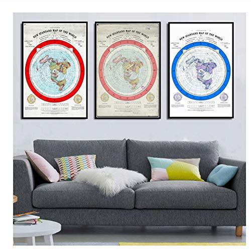 Mapa mundo 1892 Mapa Tierra plana Película Pintura