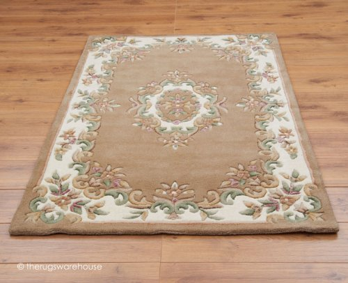 The Rugs Warehouse - Alfombra clásica Aubusson (100% lana, 120 x 180 cm), color beige y marfil
