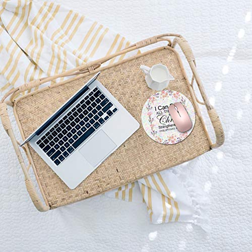 Round Mouse Pad,Bible Verse Philippians 4:13 Mouse Pad Non-Slip Rubber Material Round Mouse Mat for Office Home and Travel-Pineapple(7.87inchx7.87inch) Photo #4