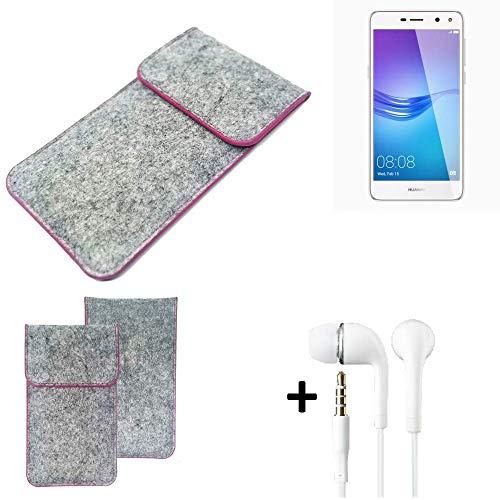 K-S-Trade Filz Schutz Hülle Für Huawei Y6 (2017) Dual SIM Schutzhülle Filztasche Pouch Tasche Hülle Sleeve Handyhülle Filzhülle Hellgrau Pinker Rand + Kopfhörer