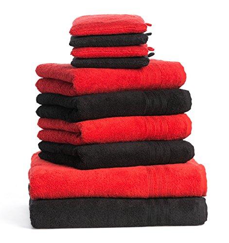 Dream Art Frottier-Pack 3487 Fb. 401 Handtuch-Set, 10-teilig (2x Duschtuch Größe 70x140, 4x Handtuch Größe 50/100 und 4x Waschhandschuh), 16 x 21 cm, rot/schwarz