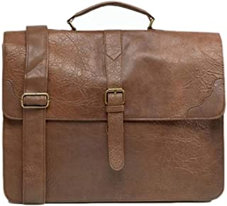 Men Smart Satchel Leather Business Briefcase Multi-Functional Casual Fashion Travel (Color : Brown, Size : S)