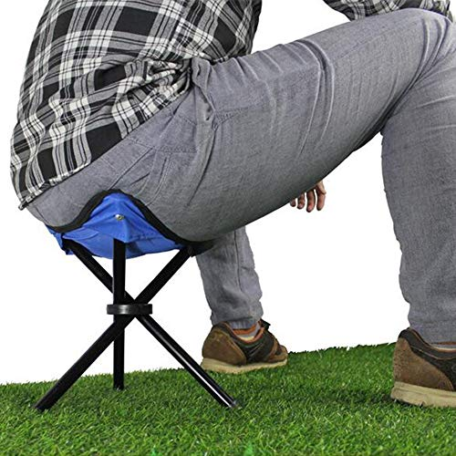 LQ ZTT 2 Set of Camping Stools Folding,12-inch Tall Lightweight Portable Tripod Camp Stools,for Backpacking Camping Hiking Hunting Fishing (Color : Blue)