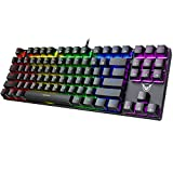 PICTEK TKL Mechanical Gaming Keyboard, RGB LED Rainbow Backlit 60% keyboard with Blue Equivalent Switches, 27 LED Lighting Modes, 100% Anti-Ghosting Tenkeyless Keyboard for Windows PC/MAC Games