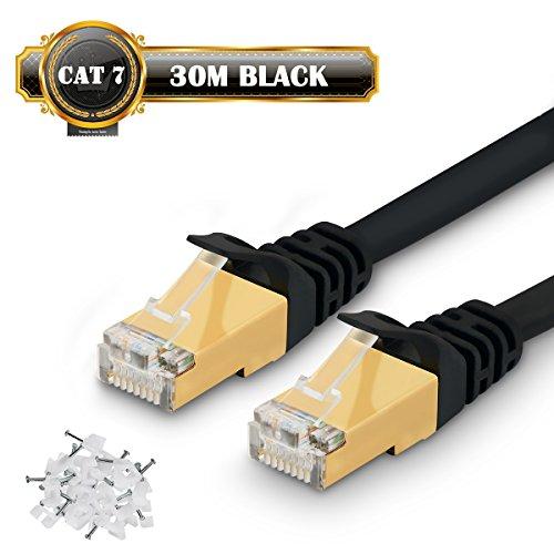 Ethernet-Kabel von Cat 7, superschnelles Ethernet-Flachkabel/Patchkabel, 750 MHz, 10 GB, Netzwerkkabel, Kabelclips enthalten