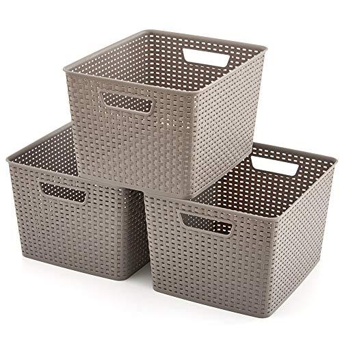 EZOWare 3 pcs Grande Cestas de Almacenaje Multiuso, Cajas Organizadoras de Plástico con Efecto de Mimbre y Asas para Cocina, Baño - Gris