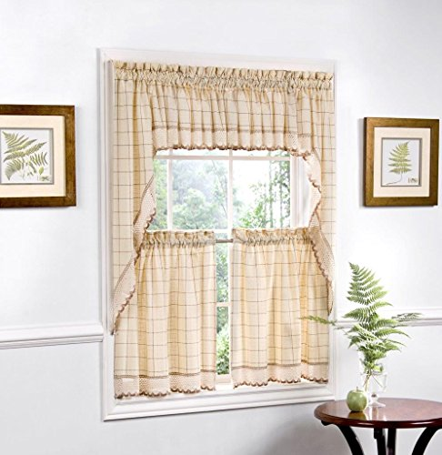 """Sweet Home Collection 5 Pc Kitchen Curtain Set, Swag Pair, Valance, Choice of 24"""" or 36"""" Tier Pair, Toast"""