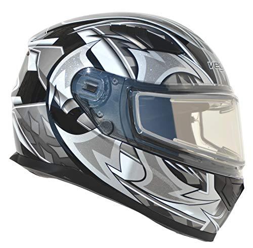 Vega Helmets Ultra Electric Snow Unisex-Adult Full Face Snowmobile Helmet with Heated Shield (Black Shuriken Graphic, 2XL)