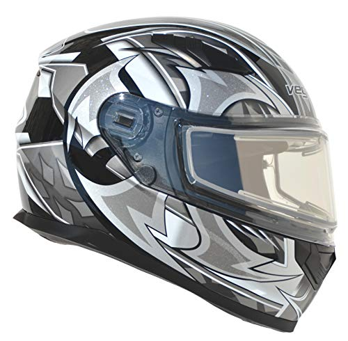 Vega Helmets Ultra Electric Snow Unisex-Adult Full Face Snowmobile Helmet with Heated Shield (Black Shuriken Graphic, Small)