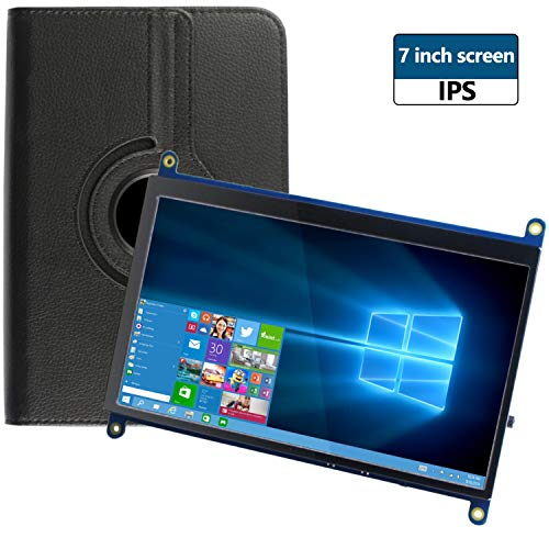 for Raspberry Pi 4 Screen, 7 Inch LCD Screen 1024 X 600 HDMI Monitor IPS Display Touchscreen with Leather Case