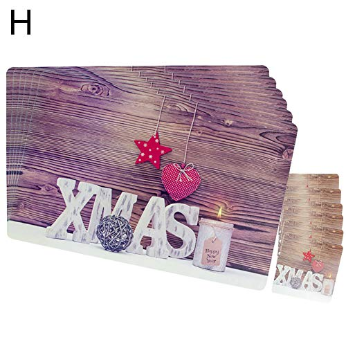 E-House Placemats, 12-delig, kop, coaster, pvc, pad, kerstfeest, avondeten servies Decor-A H