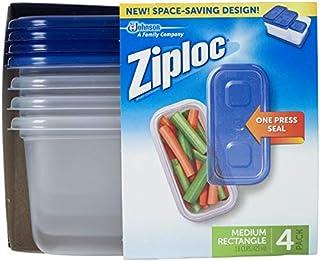 Ziploc Container, Medium Rectangle, 1.8 Cups, 4 Count