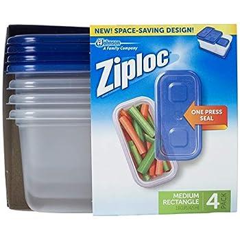 Ziploc Container Medium Rectangle 1.8 Cups 4 Count  Pack of 1