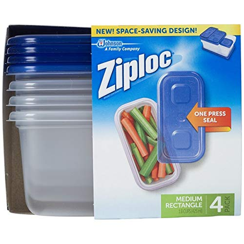 Ziploc Container, Medium Rectangle, 1.8 Cups, 4 Count (Pack of 1)