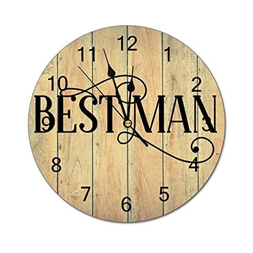 by Unbranded Reloj de pared para hombre, mejor hombre, boda, boda, boda, señales de boda, reloj de pared digital de PVC silencioso, redondo para sala de estar, dormitorio, oficina, día de la madre