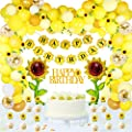 105 PCS Sunflower Birthday Party Decorations Supplies Kit,Sunflower Happy Birthday Paper Banner,Sunflower Aluminum Foil Balloon,Latex Balloons,Artificial Sunflower Vine,Cake Toppers, for Birthday Party Wedding Decor