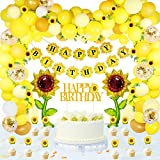 105 PCS Sunflower Birthday Party Decorations Supplies Kit, Happy Birthday Banner, Sunflower Aluminum Foil Balloon, Latex Balloons, Artificial Sunflower Vine, Cake Toppers, for Birthday Wedding Decor