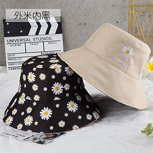 Bucket Hat Chapeau Fleurs De Broderie Double Face De Haute Qualité Unisexe Casquettes De Seau Ombre Extérieure Crème Solaire Panama Chapeau De Pêcheur M (55-58 Cm) Beige