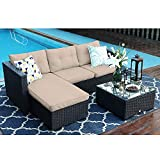 3 Piece Outdoor Furniture Sectional Sofa Patio Set with Upgrade Rattan Wicker, Beige, Low Back Design