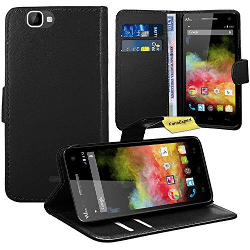 Wiko Rainbow 3G / 4G Handy Tasche, FoneExpert® Wallet Case Flip Cover Hüllen Etui Ledertasche Lederhülle Premium Schutzhülle für Wiko Rainbow 3G / 4G (Schwarz)