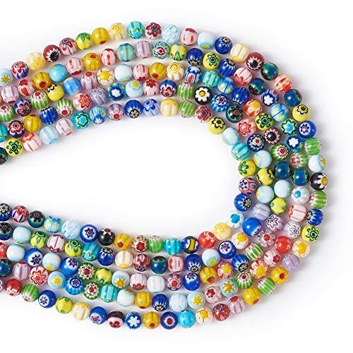 Cheriswelry Millefiori - Cuentas de cristal hechas a mano, bola redonda con flor de 10 mm, espaciadores grandes colgantes para hacer joyas, alrededor de 185 piezas