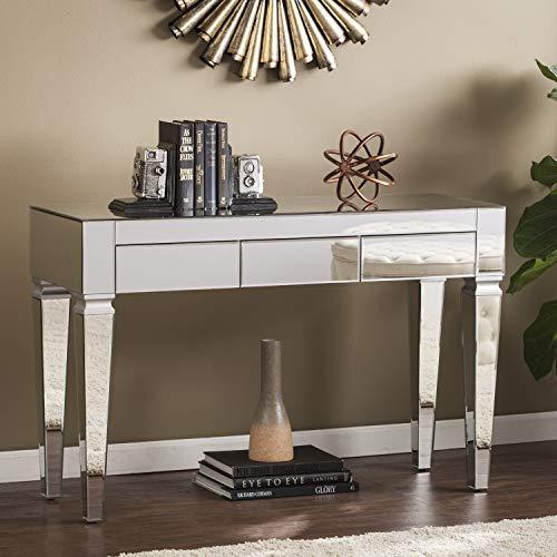 SEI Furniture Darien Contemporary Mirrored, Console Table, Silver
