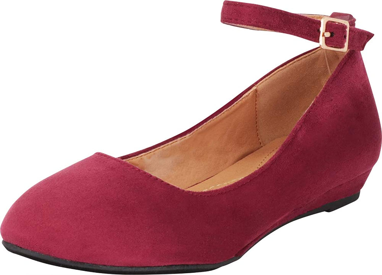 Cambridge Select Women's Round Toe Buckled Ankle Strap Low Wedge Ballet Flat