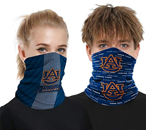 2 Pcs Neck Gaiter Face Cover Scarf Breathable Mask Cooling Bandana Reusable Outdoor Sports Headwear for Men and Women Auburn Tigers Fans