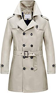YFFUSHI Men's Classic Fit Trench Coat Long Double Breasted Overcoat Outerwear Pea Coat