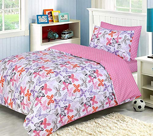 LJ Lujoso juego de funda de edredón 100% algodón para niños, juego de ropa de cama reversible con sábana bajera a juego (rosa mariposa, juego completo para cuna infantil)
