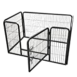 Xerath Dog Fence & Pet Playpen, Heavy Duty Foldable Metal Dog Pen 32'/28' Height with Door for Outdoor Exercise, Indoor Kennels (28' H)
