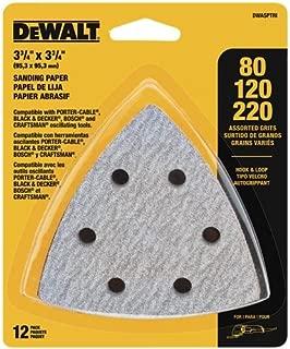 DEWALT DWASPTRI Hook and Loop Triangle Sandpaper Assorted, 12-Pack